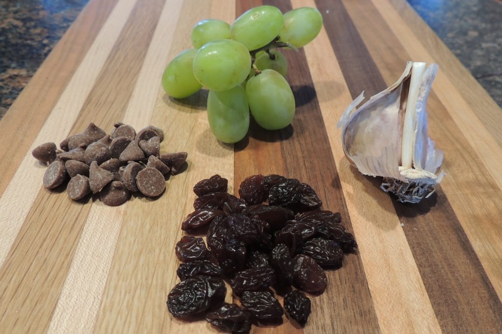 A wooden cutting board with piles of grapes, garlic, raisins.